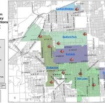 Image of 2014 Oak Lawn Emergency Communications Map - Map delineating the various fire dispatch service areas.  Municipalities include Beddor Park, Bridgeview, Burbank, Central Stickney, Evergreen Park, and Oak Lawn.