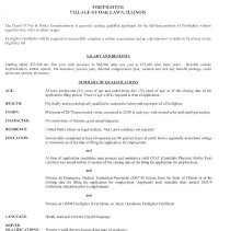 Image Of Oak Lawn Fire Department Firefighter Job Application, 2014   Job  Application For The