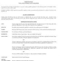 Image Of Oak Lawn Firefighter Job Application, 2014