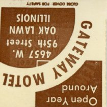 Image of Gateway Motel Matchbook - This item is a matchbook from the Gateway Motel located at 4657 West 95th Street.  It is brown and white in color and features an image of a car.