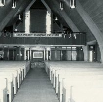 Image of Southwest Christian Missionary Alliance - This is a photograph of Southwest Christian Missionary Alliance formerly located at 9535 South Kildare Avenue. This photograph was taken from the altar looking to the rear of the church.