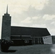 Image of Southwest Christian Missionary Alliance - This is a photograph of Southwest Christian Missionary Alliance formerly located at 9535 South Kildare Avenue. This image shows the east side of the church building.