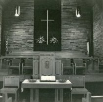 Image of Southwest Christian Missionary Alliance - This is a photograph of Southwest Christian Missionary Alliance formerly located at 9535 South Kildare Avenue. This image shows a close-up of the altar.