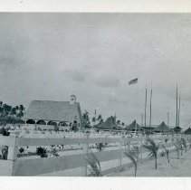 Image of World War II Photograph - This is a photograph taken in the Pacific Theater during the Second World War. It features a chapel and graveyard, and may have been snapped in the Admiralty Islands.