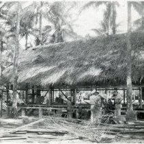 Image of World War II Photograph - This is a photograph taken in the Pacific Theater during the Second World War. It features a large thatched building in a palm grove, and may have been snapped in the Philippine Islands.