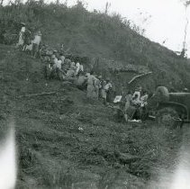 Image of World War II Photograph - This is a photograph taken in the Pacific Theater during the Second World War. It features a group of natives on a hillside, and may have been snapped in the Philippine Islands.