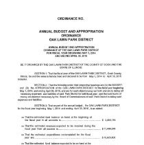 Image of Annual Budget and Appropriation Ordinance of the Oak Lawn Park District for Fiscal Year Beginning May 1, 2014 and Ending April 30, 2015 - Budget of the Oak Lawn Park District for the fiscal year beginning May 1, 2014.