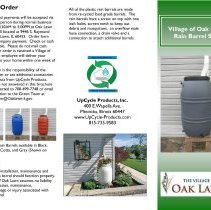 Image of Village of Oak Lawn Rain Barrel Sale - Brochure explaining the Village of Oak Lawn's program involving the sale of rain barrels to residents for the purpose of water conservation.