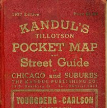 Image of Kandul's Tillotson Pocket Map and Street Guide, 1937 - This item is a Kandul's Tillotson Pocket Map and Street Guide covering Chicago and the suburbs. Numerous communities including Oak Lawn (page 172,173,184,185) appear in the book along with advertisements and other information. The cover is red in color with gold lettering.