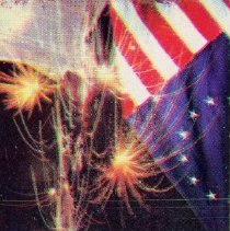 Image of Village View Restaurant Matchbook - This item is a matchbook from the Village View Restaurant located at 5255 West 95th Street.  The cover an image of the American flag and fireworks.