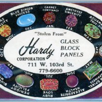 Image of Hardy Corporation Mirror  - This item is a promotional mirror give out by the Hardy Corporation located at 711 West 103rd Street in Oak Lawn.  It features images of a number of different precious stones.
