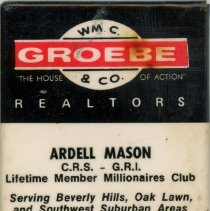 Image of WM. C. Groebe & Co. Realtors Mirror  - This item is a promotional mirror give out by WM. C. Groebe & Co. Realtors located at 5041 West 95th Street in Oak Lawn.  It is white, black, and red in color.