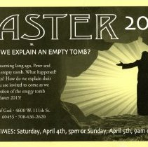 Image of Advertising Postcard from the First Church of God, March 2015 - A postcard advertising the 2015 Easter services held at the 1st Church of God, located at 4600 W. 111th Street.