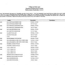 Image of Village of Oak Lawn Disbursement Resolutions, 2011 - Village Board of Trustees resolutions authorizing payment for bills to vendors for the year 2011.  Information includes the company name, the item purchased, and the amount of the expenditure.
