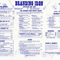 Image of Branding Iron Restaurant Menu - This item is a menu from the Branding Iron Restaurant located at 4200 West 95th Street.  It features handwriting on the back that lists the names of Ruth, Ray, Vi, Bob, LeVerne, and Paul.