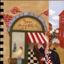 Image of Bon Appetit - This item is a cookbook developed and sold by the Oak Lawn Municipal Employees Credit Union.  It features a drawing of a restaurant on the front and a brief history of the credit union as well.