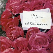 Image of Jack Kilty's Restaurant Menu - This item is a menu from Jack Kilty's Restaurant located at 4545 West 95th Street.  It features an image of red flowers on the front.