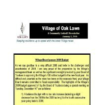 Image of A Community United: E-Newsletter for the Village of Oak Lawn, 2009 - Compilation of electronic newsletters produced by the Village of Oak Lawn for its residents during the year 2009.  Includes information on activities and developments taking place in the village.