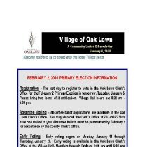Image of A Community United: E-Newsletter for the Village of Oak Lawn, 2010 - Compilation of electronic newsletters produced by the Village of Oak Lawn for its residents during the year 2010.  Includes information on activities and developments taking place in the village.