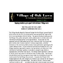 Image of A Community United: E-Newsletter for the Village of Oak Lawn, 2011 - Compilation of electronic newsletters produced by the Village of Oak Lawn for its residents during the year 2011.  Includes information on activities and developments taking place in the village.