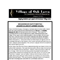 Image of A Community United: E-Newsletter for the Village of Oak Lawn, 2013 - Compilation of electronic newsletters produced by the Village of Oak Lawn for its residents during the year 2013.  Includes information on activities and developments taking place in the village.