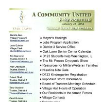 Image of A Community United: E-Newsletter for the Village of Oak Lawn, 2014 - Compilation of electronic newsletters produced by the Village of Oak Lawn for its residents during the year 2014.  Includes information on activities and developments taking place in the village.