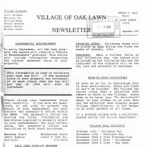 Image of Village of Oak Lawn Newsletter, 1993 - Newsletter published by the Oak Lawn Village administration during 1993.  Its purpose was to promote better understanding between the village government and the residents.