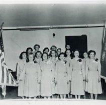 Image of V.F.W. Johnson-Phelps Ladies Auxiliary Post #5220 - This is a photograph of newly installed officers of the V.F.W. Johnson-Phelps Ladies Auxiliary Post #5220, circa. May 1951. From left to right: Row 1: Maude Fredrick, Mrs. Charles Schlosser (Laura), Mrs. Harold Hewitt (Ruth Hansen), Margaret (Peggy{ Haskins, Mrs. Kenneth Shoot (Mary); Row 2: Mrs. Oscar Johnson (Rose), Mrs. Walter Hansen (Angeline), Mrs. Edward M. Draper (Adeline Anderson), Mrs. Gordon Campbell (Ann), Mrs. Roundtree; Row 3: Mrs. William Lyon (Minnie Harnew), Mrs. Lowell P. Schultz (Mildred), Mrs. Asa Phelps (Elizabeth), Julia Tomlinson, Mrs. Andersen (Doris Phelps), Mrs. James R. Bennett (Ann Stell).