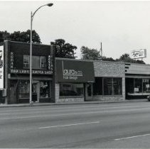 Image of Southwest Corner of 95th Street and Brandt Avenue - This is a photograph of businesses on the southwest corner of 95th Street and Brandt Avenue in 1992. Shown in the image are: Oak Lawn Camera Shop, Laura & Co., Tuzik's Bakery.