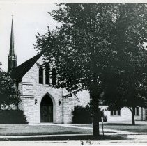 Image of Trinity Lutheran Church, 1959 - This is a photograph of Trinity Lutheran Church located at 97th Street and Brandt Avenue in 1959. The image shows an exterior view of the front entrance.
