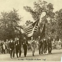 Image of V.J. Day Parade, 1945 - This is a photograph of a V.J. Day Parade in 1945. The image shows members of the American Legion Post #757 and others marching in a parade.