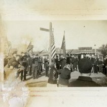 Image of Veteran's Day War Memorial Ceremony, 1939  - This is a photograph of the Armistice Day (Veteran's Day) ceremony at the war memorial on 95th Street and Columbus Drive.