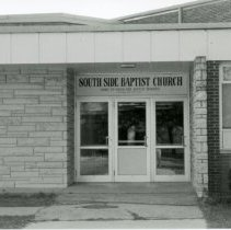 Image of South Side Baptist Church - This is a photograph of South Side Baptist Church located at 5345 West 99th Street. This image shows an exterior view of the front entrance. This building was formerly Gasteyer School.