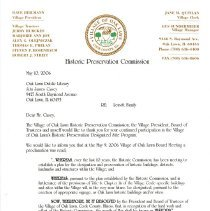 Image of Village of Oak Lawn Oak Lawn Historic Preservation Commission Proclamation, 2006 - Letter thanking the Oak Lawn Public Library for it's cooperation with the Oak Lawn Historic Preservation Commission over the ten years of the commission's existence.  Includes the wording of the village's proclamation.