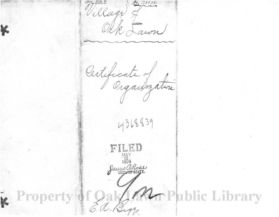 Village Of Oak Lawn Certificate Of Organization 1909 Certificate