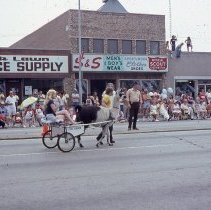 Image of 1983 Oak Lawn Fest Parade - This item is a slide of the 1983 Oak Lawn Fest Parade. It features a small cart pulled by a llama moving down 95th Street. Oak Lawn Office Supply and S&S Men's Wear are visible in the background.