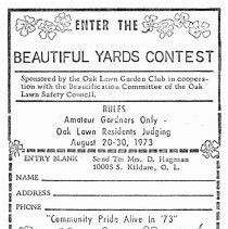 Image of Beautiful Yards Contest Entry Form, 1973 - Entry form for the Beautiful Yard Contest sponsored by the Oak Lawn Garden Club in 1973.