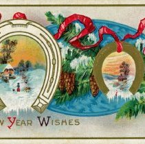 Image of Holiday Postcard - This item is a postcard from Emma sent to Emma Graefen (Benck) in Oak Lawn. The front features a colorful winter scene while the back contains a stamp and brief message.