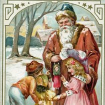 Image of Holiday Postcard - This item is a postcard from Ella sent to Emma Graeffen in Oak Lawn. The front features an image of children and Santa Clause while the back contains a stamp.