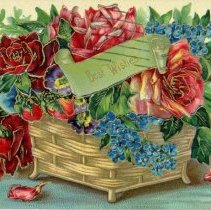 Image of Best Wishes Postcard - This item is a postcard from Ed sent to Emma Graeffen in Oak Lawn. The front features an image of flowers while the back contains a brief message and stamp.