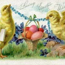 Image of Ella Hossmann Postcard - This item is a postcard from Ella Hossmann sent to Emma Graefen in Oak Lawn. The front features an Easter scene while the back contains a stamp.