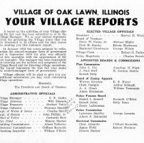 Image of Your Village Reports, 1954 - A report on the activities of the Village of Oak Lawn during the 1953-54 year. Includes names of officials, boards and commissions, financing information, accomplishments, and plans for the future.