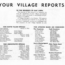 Image of Your Village Reports, 1956 - A report on the activities of the Village of Oak Lawn during the 1955-56 year.  Includes names of officials, commissions and boards, financing information, accomplishments, and plans for the future.