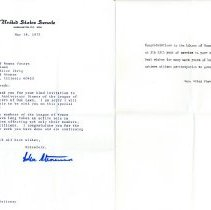 Image of Adlai Stevenson Letter to the League of Women Voters, 1975 - Letter from Senator Adlai E. Stevenson III, dated May 14, 1975,  to the League of Women Voters of Oak Lawn congratulating them on the occasion of the 25th anniversary of their founding. Adlai unsuccessfully ran for governor on several occasions and was the son of former Illinois Governor Adlai Stevenson II.