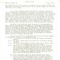 Image of Water Supply Study, 1953-1954 - The Hometown Civic Study Group conducted a study of the local water supply during the year 1953 to 1954.  Because of the proximity to Oak Lawn, the League of Women Voters of Oak Lawn also took an interest.  The resulting collection of documents includes reports, contracts, letters, lists, etc. dealing with the subject.