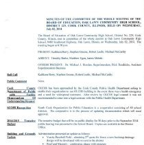 Image of 2014-2015, Oak Lawn Community High School District 229 Board of Education Minutes - Minutes of the Oak Lawn Community High School District 229 Board of Education for the 2014-15 academic year.