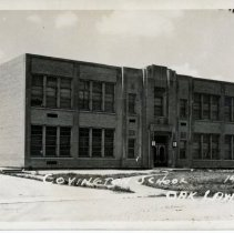 Image of Covington School Postcard - This item is a postcard of Covington School as it appeared shortly after its completion. The front has an image of the school building while the back has a small amount of information.
