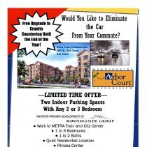 Image of Arbor Court Condominium Flier - Flier promoting the sale of Arbor Court Condominiums, developed by the Morningside Group. The units are located at 5100 West 96th Street in Oak Lawn.