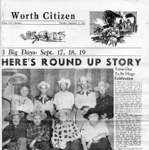 Image of Worth Citizen Special Section: Oak Lawn Round Up, 1953 - Special section of the Worth Citizen newspaper published September 17, 1953.  Contains numerous articles and photographs concerning the Oak Lawn Round-Up festival held in September of 1953.
