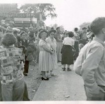 Image of 1954 Oak Lawn Round-Up - This is a photograph of the 1954 Oak Lawn Round-Up. It features a crowd standing along 95th Street. In the background, a Pabst Blue Ribbon Beer sign, the Lincoln Meat Market located at 5967 W. 95th Street, the Ratajik Pharmacy located at 5269 W. 95th Street, and Buell's Town Tap Room are visible.
